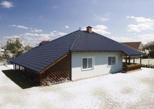 Tondach Falcovka 11 - Rodinný dům, Glazura Břidlicově černá, horní náhled